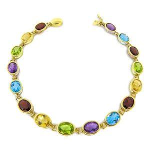 Jewelry - 14 Karat Amethyst,Peridot, Garnet,Topaz Bracelet
